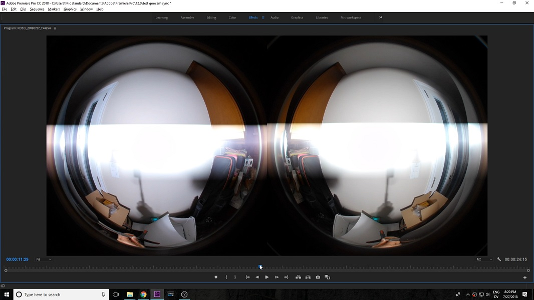 Kandao Qoocam 3D 180 Left and right lens synchronization