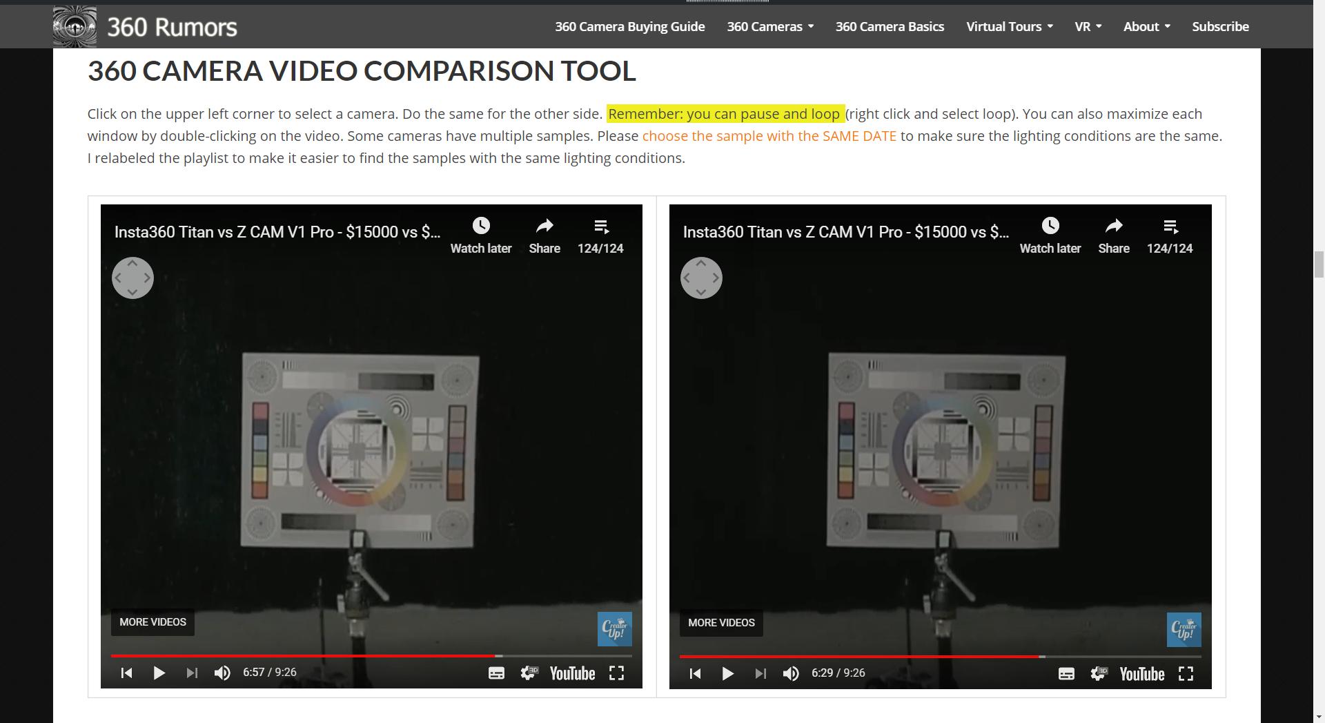 Insta360 Titan (left) vs Z Cam V1 Pro (right)