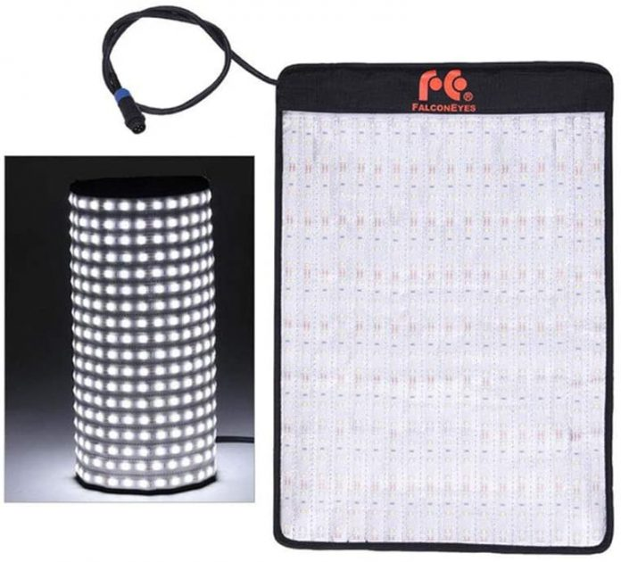 Falconeyes flexible LED panel converts to a 360 camera light