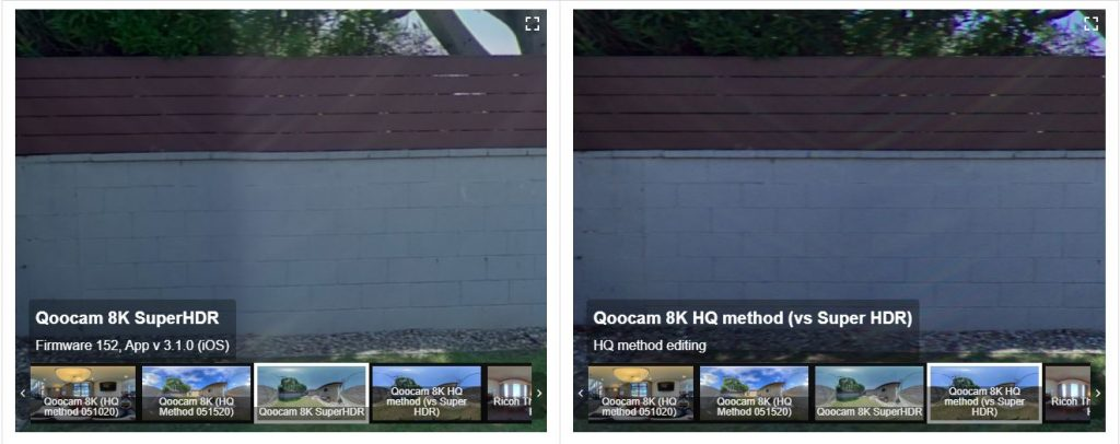 Left: Super HDR glare; Right: HQ method with less glare