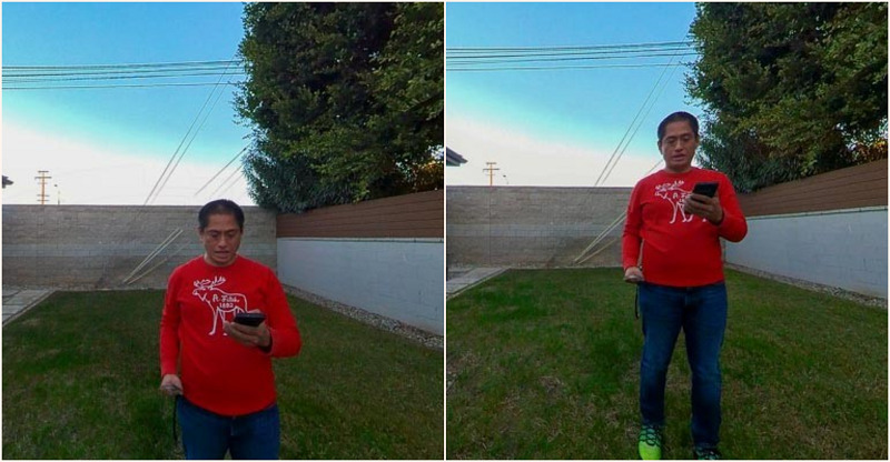 Left: eye-level shot; Right: rule of thirds for 360 (waist-level at 5 feet)