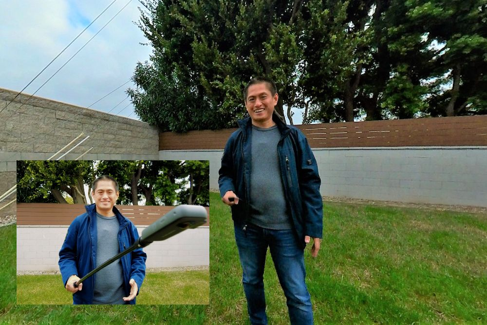 The selfie stick tripod is invisible to 360 cameras